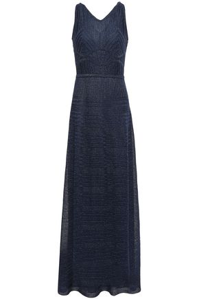 M MISSONI Cutout metallic crochet-knit maxi dress