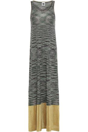 M MISSONI Metallic-paneled crochet-knit maxi dress