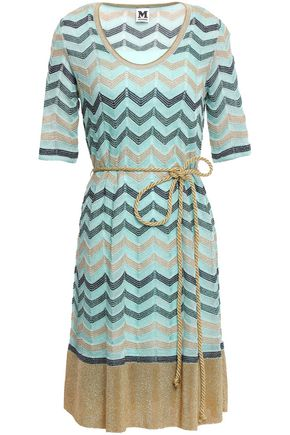 M MISSONI Belted metallic crochet-knit dress