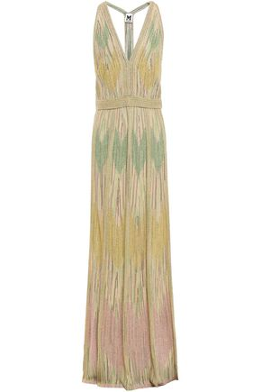 M MISSONI Open-back metallic crochet-knit gown