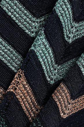 M MISSONI Belted metallic crochet-knit dress