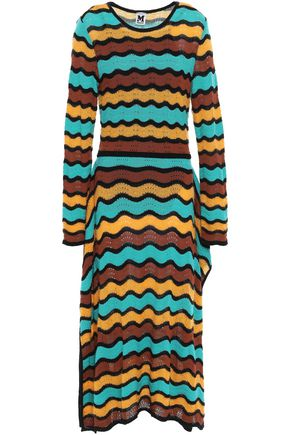 M MISSONI Draped intarsia-knit cotton-blend midi dress