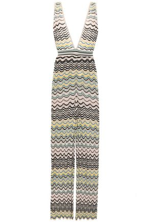 M MISSONI Pointelle-knit cotton-blend jumpsuit