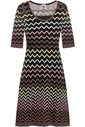 M MISSONI Flared metallic-trimmed crochet-knit dress