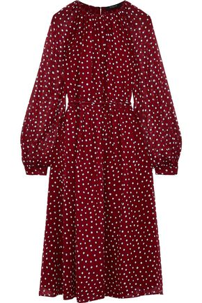 DEREK LAM Belted polka-dot silk-georgette midi dress