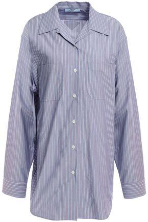 PRADA Bow-detailed velvet-trimmed striped cotton-poplin shirt