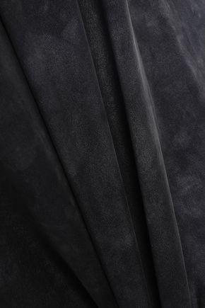 AMIRI Open-back chain-embellished washed-silk midi slip dress