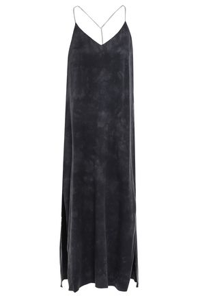 AMIRI Open-back chain-embellished washed-silk midi slip dress