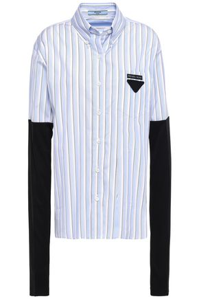 PRADA Jersey-paneled striped cotton-poplin shirt