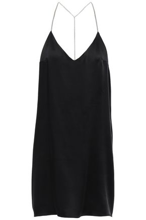 AMIRI Open-back chain-embellished silk-satin mini slip dress