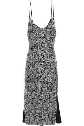 AMIRI Leather-trimmed leopard-print silk-chiffon midi slip dress