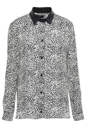 AMIRI Leather-trimmed leopard-print silk-crepe shirt