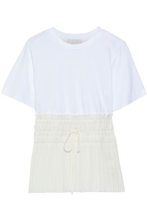 3.1 PHILLIP LIM Cotton-jersey and pleated crepe de chine T-shirt
