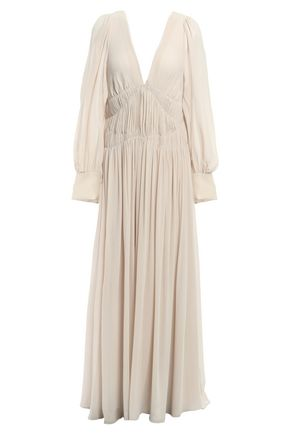 STELLA McCARTNEY Pleated silk-georgette maxi dress