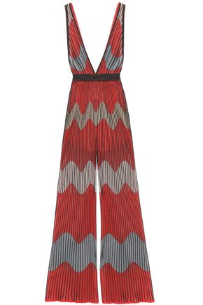 M MISSONI Ribbed metallic intarsia-knit jumpsuit