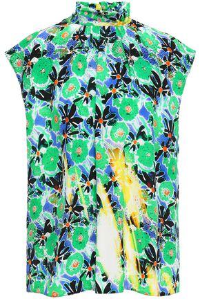 PRADA Floral-print silk crepe de chine top