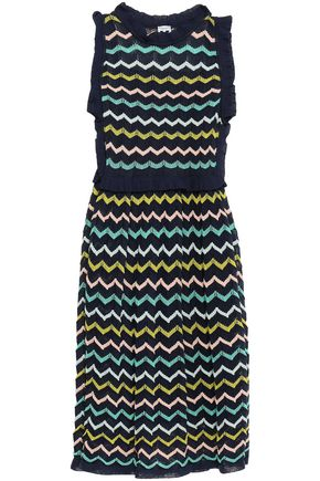 M MISSONI Ruffle-trimmed printed crochet-knit dress