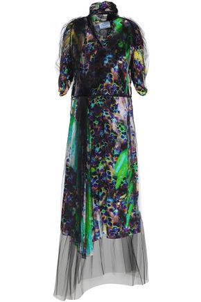 PRADA Layered printed crepe de chine and tulle midi dress