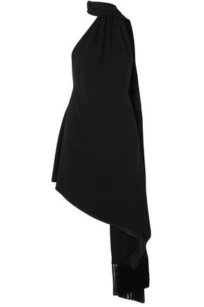 SAINT LAURENT Fringed crepe halterneck mini dress