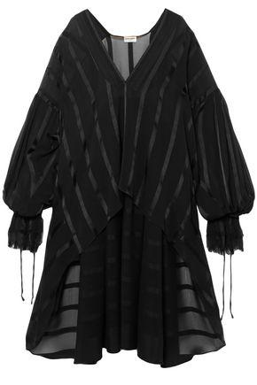SAINT LAURENT Frayed silk-georgette top