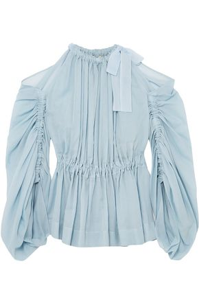 FENDI Cold-shoulder cotton peplum blouse