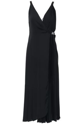PRADA Grosgrain-trimmed twill midi wrap dress
