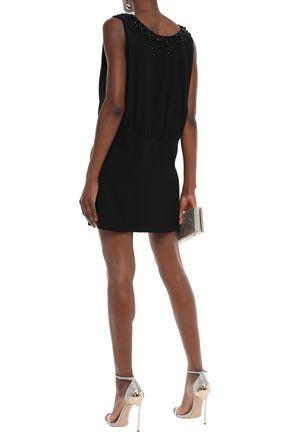 PRADA Lace-up embellished stretch-crepe mini dress