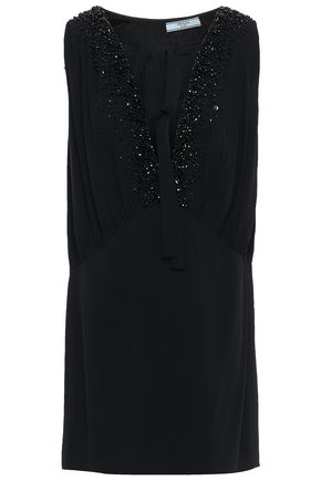 PRADA Lace-up embellished stretch-crepe mini dress