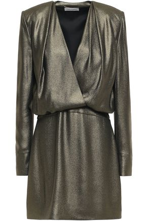 SAINT LAURENT Wrap-effect metallic crepe mini dress