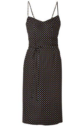 HVN Polka-dot silk crepe de chine slip dress