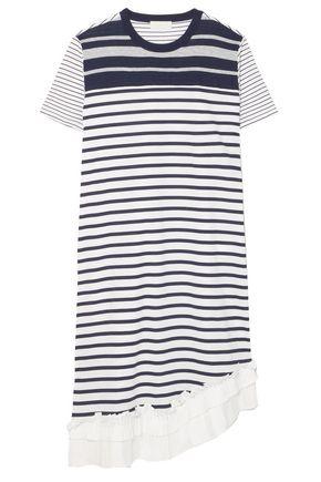 MAILLE CLU Asymmetric ruffle-trimmed striped cotton-jersey dress