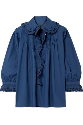 NILI LOTAN ラッフル付き イギリス刺繍トリム コットンポプリン シャツ