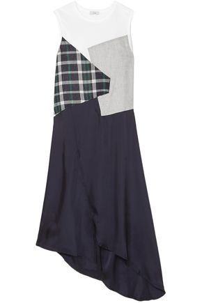 CLU Asymmetric paneled checked cotton and satin dress