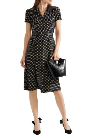 Hvn Dresses HVN WOMAN POLKA-DOT SILK CREPE DE CHINE DRESS BLACK