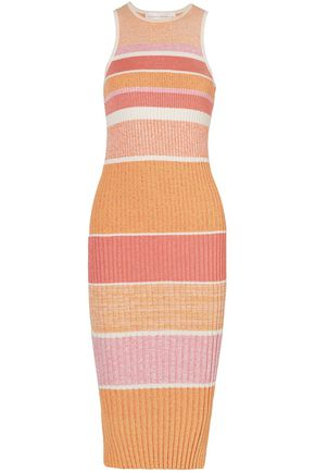 VICTORIA, VICTORIA BECKHAM Striped ribbed-knit midi dress
