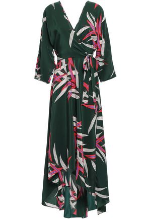 DIANE VON FURSTENBERG Printed silk midi wrap dress