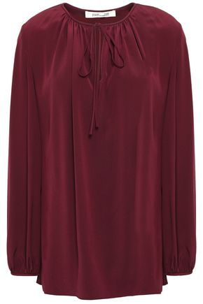 DIANE VON FURSTENBERG Bow-detailed washed-silk blouse