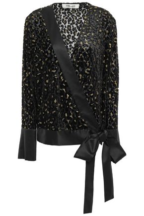 DIANE VON FURSTENBERG Wrap-effect metallic devoré-chiffon blouse