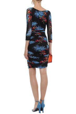 DIANE VON FURSTENBERG Ruched printed stretch-tulle mini dress