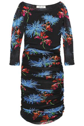 DIANE VON FURSTENBERG Ruched printed stretch-tulle mini dress