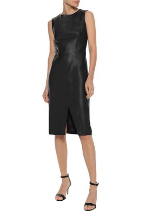 IRIS & INK Toril split-front leather dress