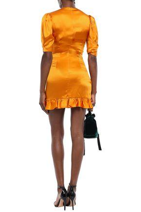DE LA VALI Shanna wrap-effect ruffle-trimmed silk-satin mini dress