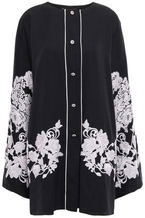 DOLCE & GABBANA Crystal-embellished embroidered stretch-silk top