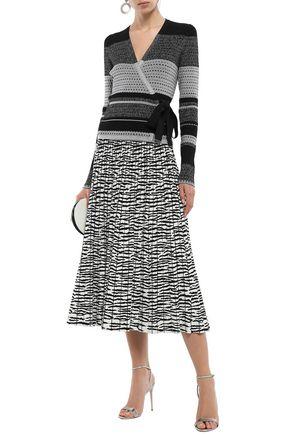 DIANE VON FURSTENBERG Metallic striped crochet-knit wrap top