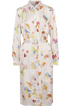 ACNE STUDIOS Alloy belted printed satin-twill shirt dress