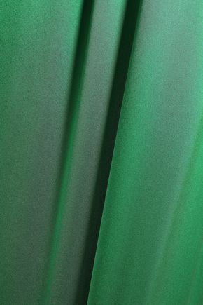 DE LA VALI Audrey fluted gathered silk-satin maxi dress