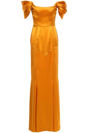 DE LA VALI Alma off-the-shoulder silk-satin gown