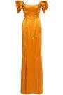 DE LA VALI Alma off-the-shoulder silk-satin gown