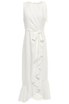 CINQ À SEPT Nanon bow-detailed ruffled crepe midi dress