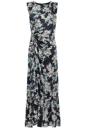 CINQ À SEPT Mirna twist-front ruffled floral-print silk-satin midi dress